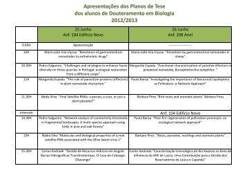 Programa das Apresentações dos Planos de Tese - icaam