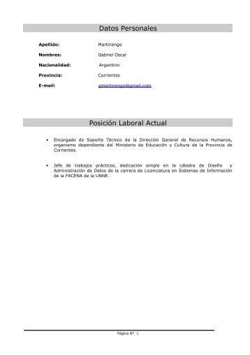 Datos Personales Posición Laboral Actual - FaCENA - Universidad ...