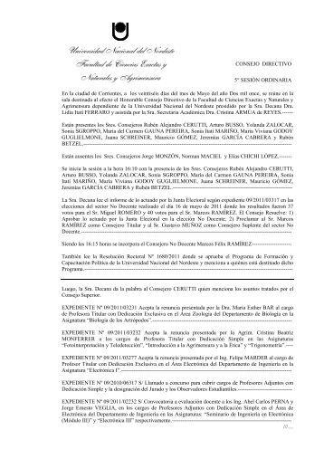 Acta Consejo Directivo, 5º Sesión ordinaria - Mayo 2011 - FaCENA ...