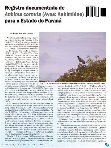 (Aves: Anhimidae) para o estado do Paraná - Atualidades ...