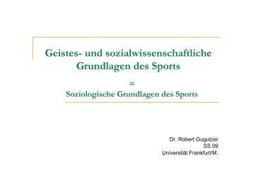 Geistes- und sozialwissenschaftliche Grundlagen des Sports