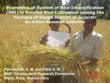 Promotion of System of Rice Intensification (SRI) in ... - SRI - India