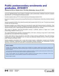 Public postsecondary enrolments and graduates, 2010/2011