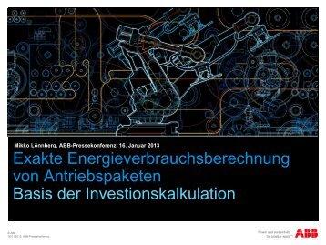Exakte Energieverbrauchsberechnung als Basis der ... - ABB