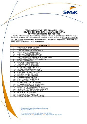 Relação de candidatos habilitados atualizado em 05/06/2013 - Senac