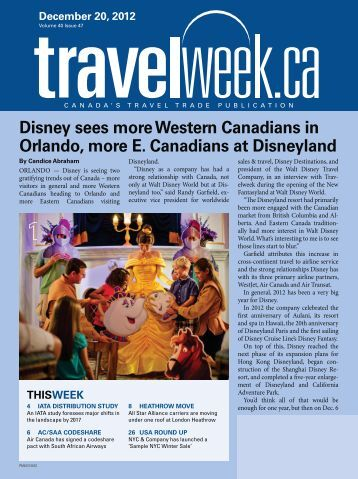 Disney sees more Western Canadians in Orlando ... - Travelweek