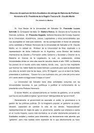Discurso de apertura del Acto Académico de entrega de Diploma de ...