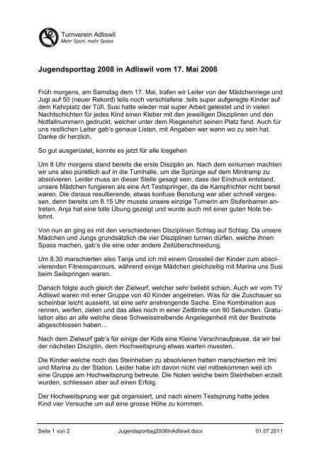Jugendsporttag 2008 in Adliswil vom 17. Mai 2008 - Turnverein ...