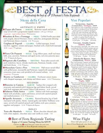 a printable version of this menu in PDF format - Il Fornaio