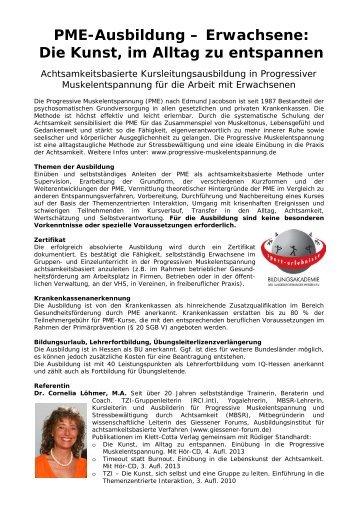 Info-Flyer mit Anmeldeformular - Progressive Muskelentspannung