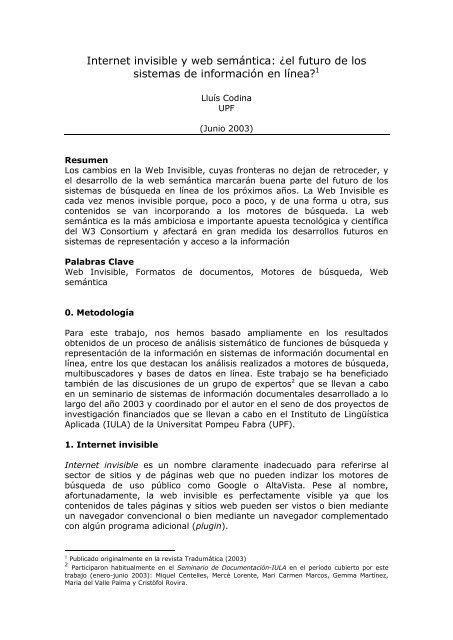 Internet invisible y web semántica: ¿el futuro de los ... - Lluís Codina