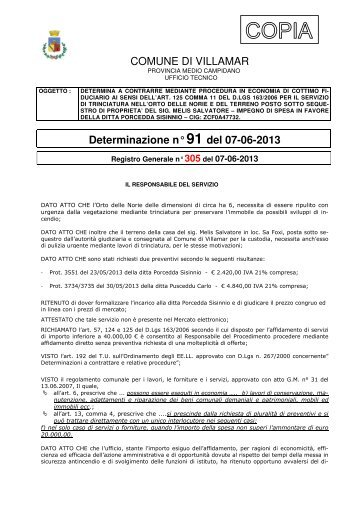 Scarica la Determina Ufficio Tecnico n. 91/2013 (Pdf 138 Kb)