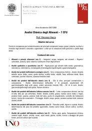 Analisi Chimica degli Alimenti – 7 CFU - Consorzio UNO