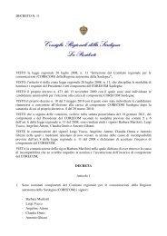 Nomina Presidente e componentI del CORECOM Sardegna