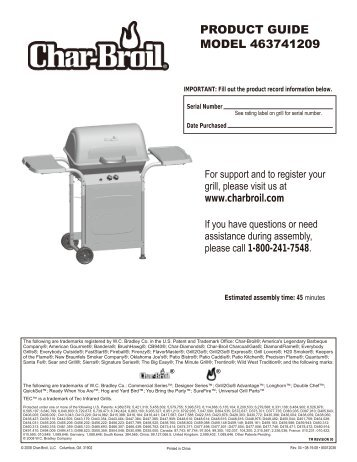 PRODUCT GUIDE MODEL 463741209 - Char-Broil Grills