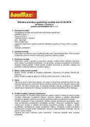 Oficiální pravidla a podmínky soutěže dne 01.05.2010 - bauMax