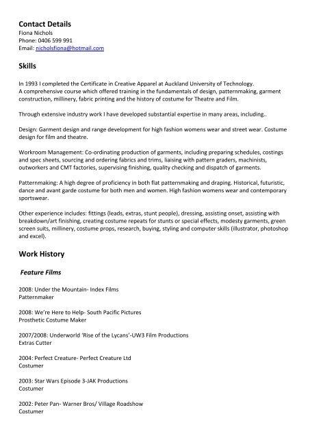 Fiona Nichols Costume CV 2011 pdf - Perth Crew