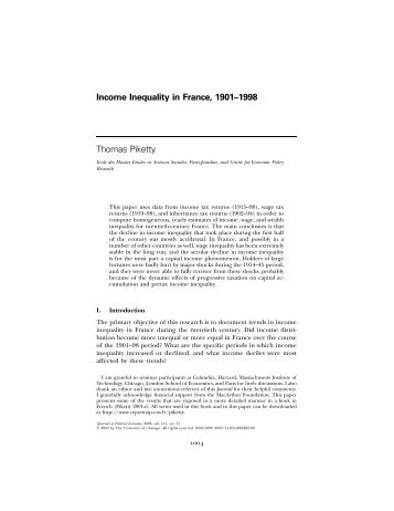 Income Inequality in France, 1901–1998 Thomas Piketty