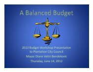 2013 Budget Workshop Presentation to ... - City of Plantation