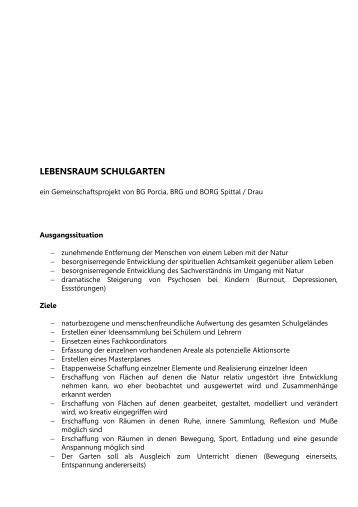 LEBENSRAUM SCHULGARTEN - BRG Spittal an der Drau