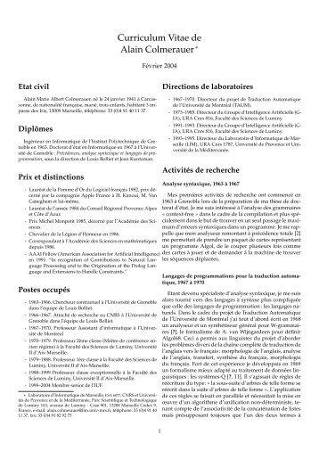 Curriculum Vitae de Alain Colmerauer - Colmerauer, Alain - Free