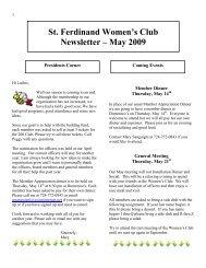 St. Ferdinand Women's Club Newsletter – May 2009
