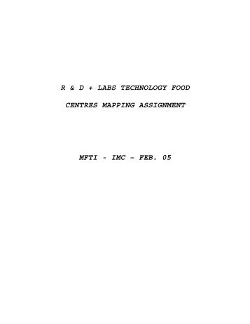 r & d + labs technology food centres mapping assignment mfti - IMC