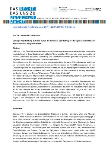 Prof. Dr. Johannes Lähnemann - internationale Konferenz