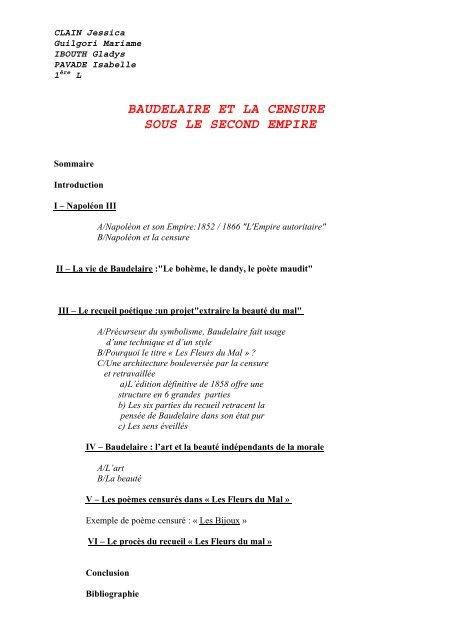 Baudelaire Et La Censure Sous Le Second Empire Il Portale