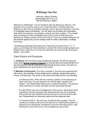 IB Biology HL Year 1