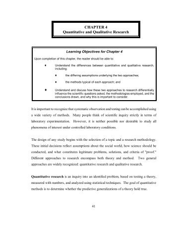 exploring qualitative and quantitative research essay Assignment denise brown walden university application 1 assignment qualitative method is one of three methods of conducting research according to creswell (2009.