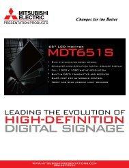 Mitsubishi MDT651S Flat Panel Specs - Frostline Inc.
