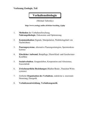 Vorlesung Zoologie, Teil Verhaltensbiologie