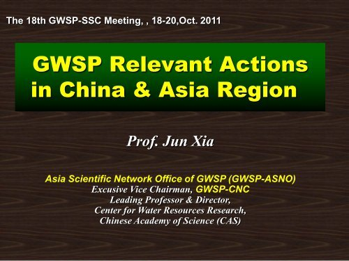 GWSP Relevant Actions in China & Asia Region