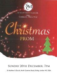 Sunday 20th December, 7pm - St Matthew's Choir