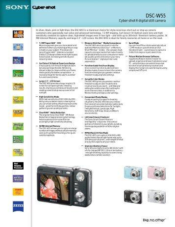 DSC-W55 Cyber-shot® digital Still Camera - Sony Electronics News ...