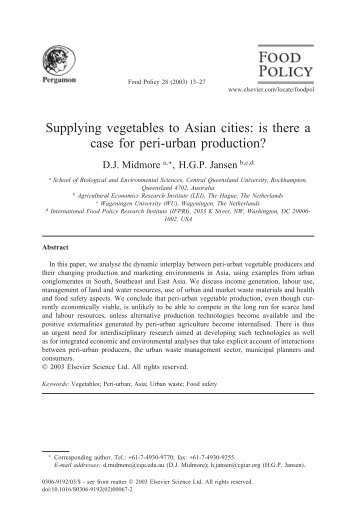 Supplying vegetables to Asian cities: is there a case ... - newruralism