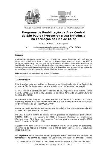 Programa de Reabilitação da Área Central de São Paulo (Procentro ...