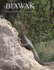 Journal of Varanid Biology and Husbandry Volume 6 Number 2
