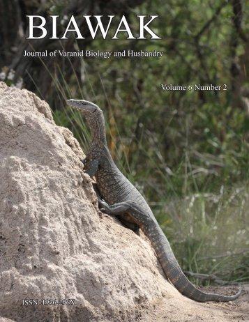 Journal of Varanid Biology and Husbandry Volume 6 Number 2