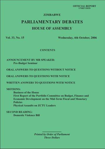 4 October 2006 No.33-15 - Zimbabwe Parliament