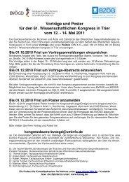 Vorträge und Poster für den 61. Wissenschaftlichen Kongress in ...