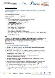 Protokoll zum Kooperationspatenschaft- Workshop