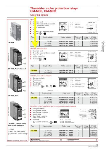 Motor load monitors power factor cm lwn 2 spdt relay for Thermistor motor protection relay