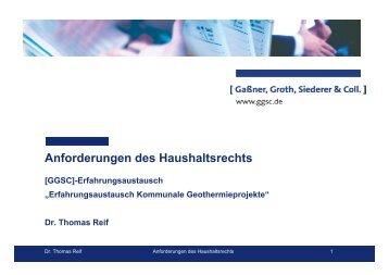 Anforderungen des Haushaltsrechts - GGSC Seminare
