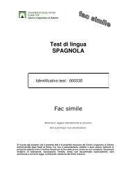 Test di lingua SPAGNOLA Fac simile - Centro Linguistico d'Ateneo ...