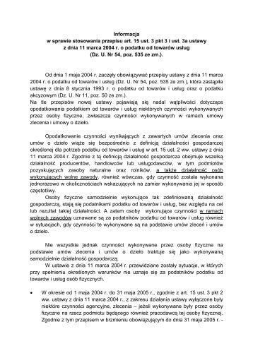Informacja w sprawie stosowania przepisu art. 15 ust. 3 i ust. 3a ...