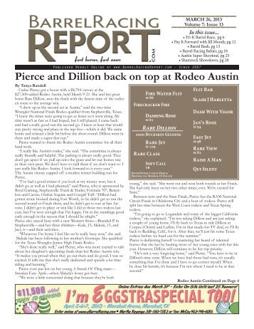 Pierce and Dillion back on top at rodeo austin - Barrel Racing Report