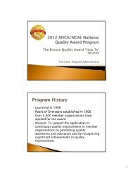 """The Bronze Quality Award """"How To"""" Session"""