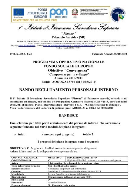 pon 2010/2011 bando di reclutamento tutor - Liceo Platone